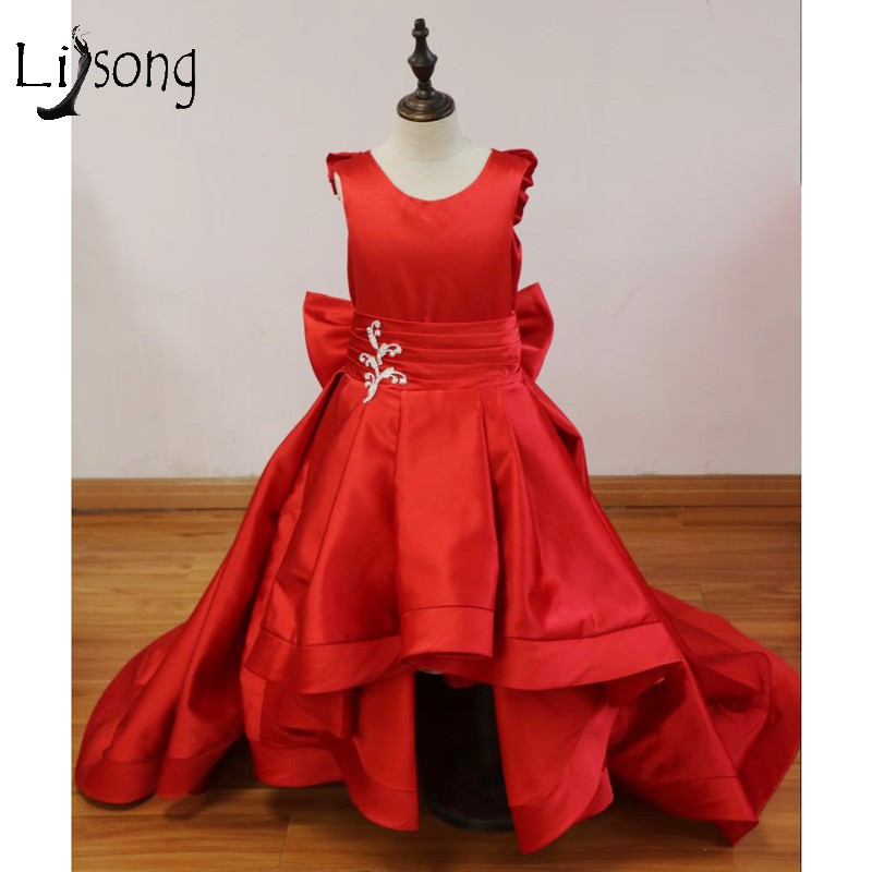Pretty Red Long High Low First Communion Dresses For Girls With Crystal Bow Princess Flower Girl Dresses Kid Dress For Wedding