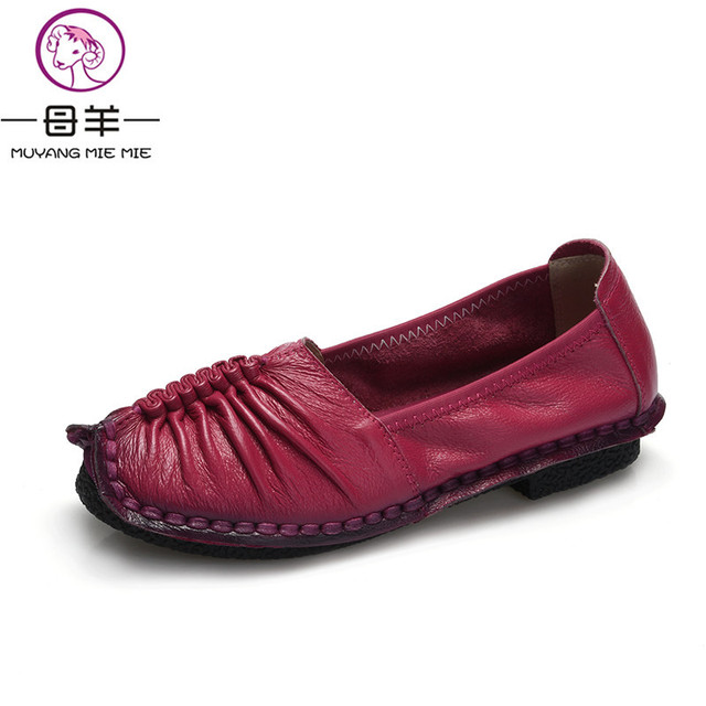 2017 Fashion Loafers Women Shoes Genuine Leather Shoes Handmade Soft Comfortable Flat Shoes Woman Casual Shoes Women Flats