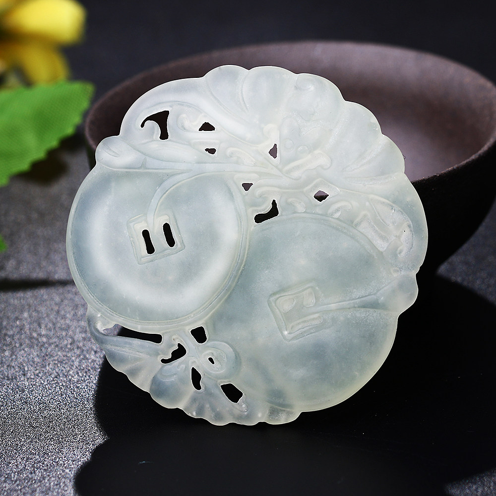 AAAAA Natural White Jade Chalcedony Pendant Men Jewelry Women Fashion Hand-Carved Hollow Chinese Charm Porcelain Gothic Necklace gothic style hollow out beads necklace for women