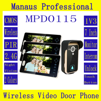 Newest Three Smart Home 7'' Screen Video Door Phone,Remote Unlock 2.4GHz Video Digital Wireless Front Door Peephole Camera D115a