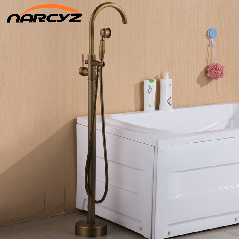 Bathtub Faucets Antique/ Black Floor Mounted Free Standing Bathtub Faucet Shower Set Tub Filler Mixer Tap For Bathroom XT379