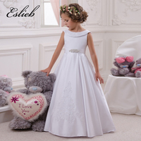 Little Flower Girl Dresses Crew Neckline with Collar Lace Appliques A Line White Little Girls First Communion Pageant Dress 2017