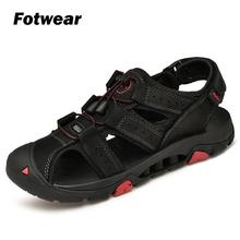 Fotwear Men Sandals Outdoor Leather shoes Breathable with spring to absort shock Good supportive Foot Protect feet
