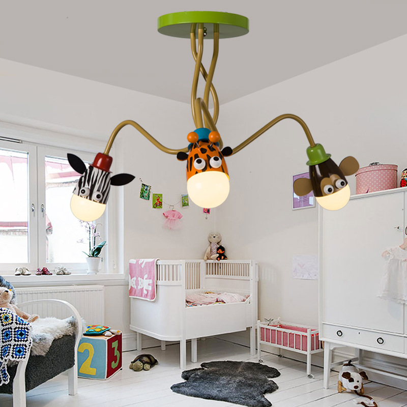 цены  Modern Kids Room boy girl bedroom ceiling lamp LED creative cartoon animal head ceiling light ,Adjustable angle long arm lamp