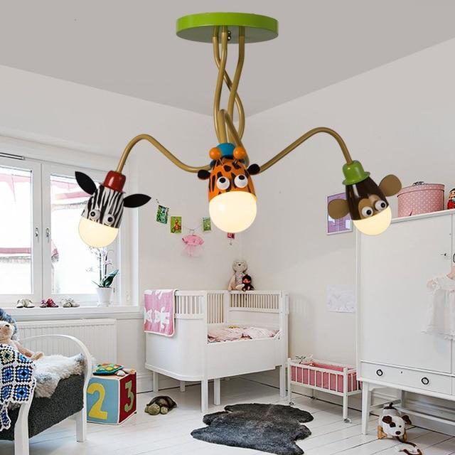 Moderne Kinderzimmer Junge Mädchen Schlafzimmer Deckenleuchte LED Kreative  Cartoon Tier Kopf Deckenleuchte, Einstellbaren Winkel Langen