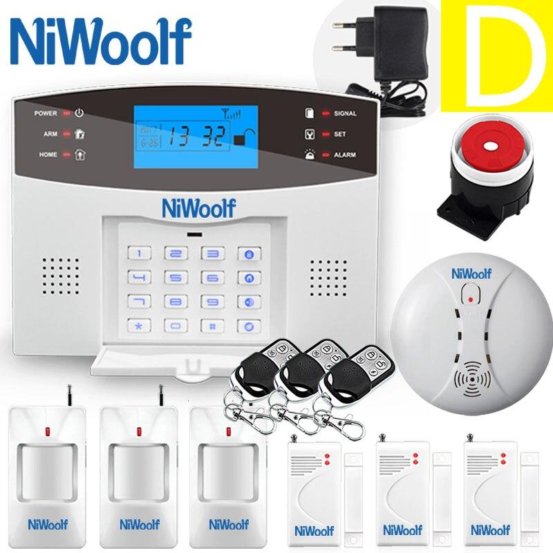 niwoolf sem fio gsm sistema de alarme lcd teclado porta winodw pir detector movimento intercom alarme