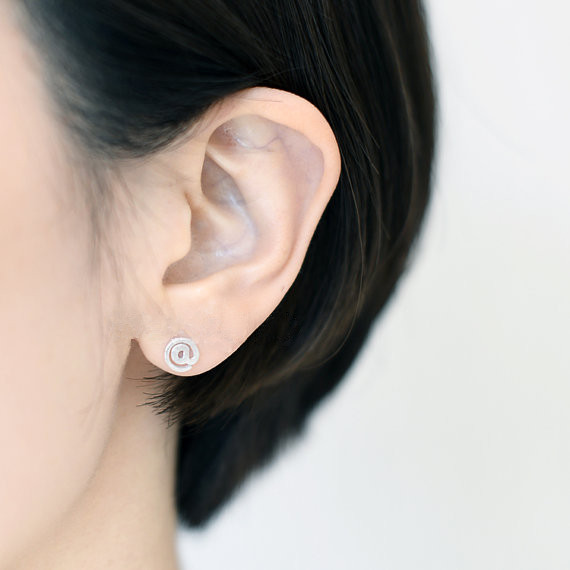 Adorable Twitter Stud Earrings A Hashtag And At Sign Stud Weibo