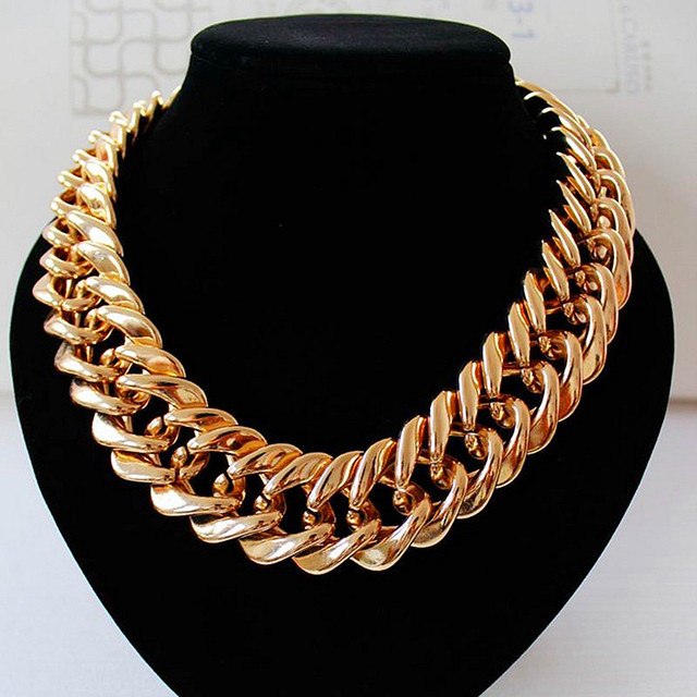 FishSheep Statement Big Chunky Chain Choker Necklace For Women Maxi Rose Gold Color Long Chain Collar Necklaces Famale Jewelry