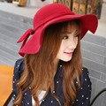 Зима новый Корейский внешней торговли теплую шапку Леди лук большой головной шляпа Шерсти шляпы