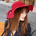Winter new Korean foreign trade warm hat Lady bow large brimmed hat Wool hats