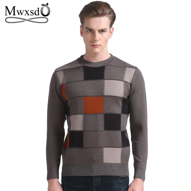 Mwxsd brand Men's casual plaid pullover sweater autumn winter male wool cotton sweater knitting pull homme jumpers