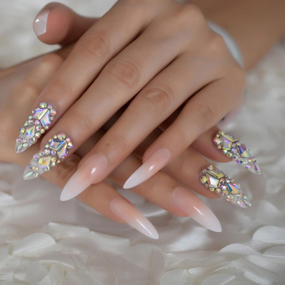 Роскошные поддельные ногти дизайнерские удлиненные Омбре французские украшения предварительно разработанные ногти натуральные шпильки AB Украшение камнями Типсы - Цвет: L5171
