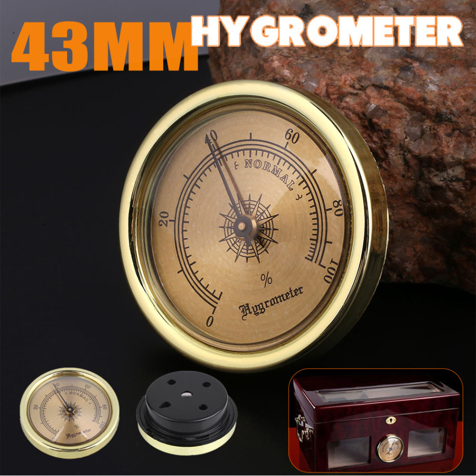 43mm Precision Cigarette Hygrometer Waterproof Accurate Mechanical Humidor Round Hygrometers Humidity Detector Cigar Accessories