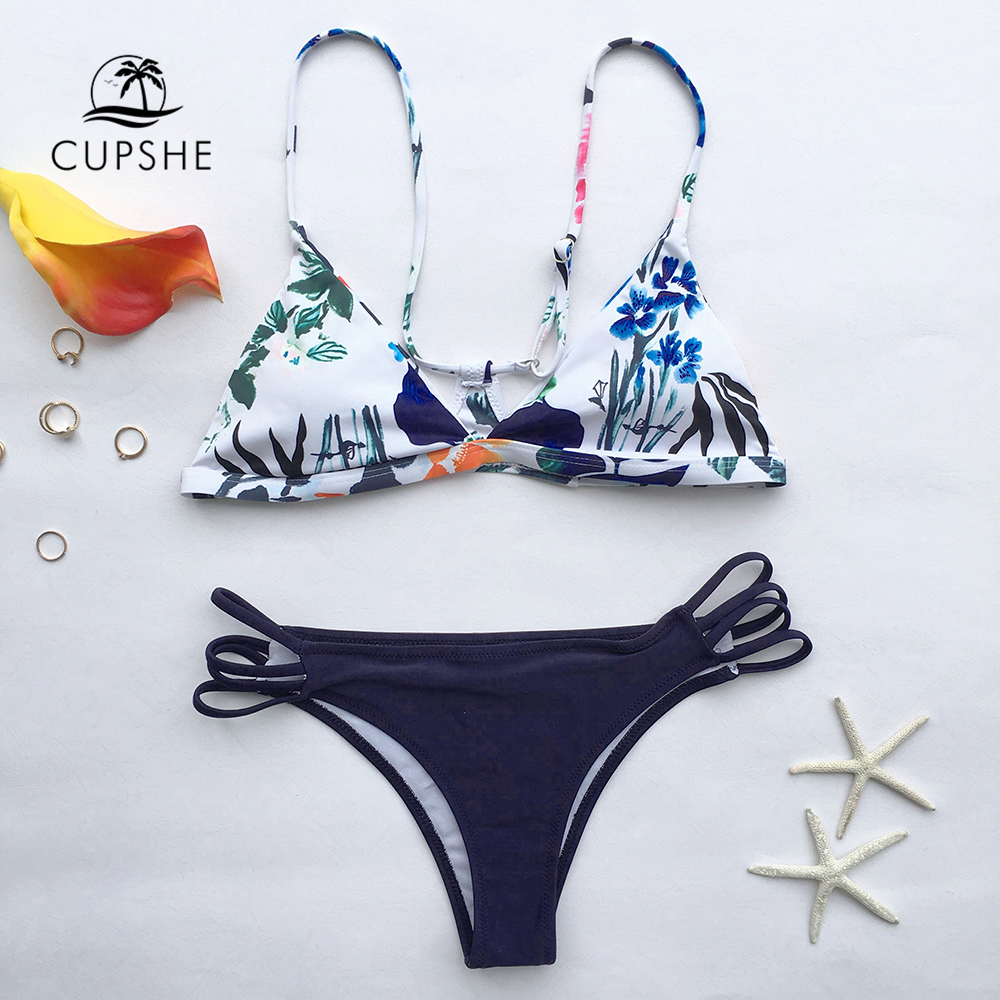 CUPSHE The Fall Floral Yours <font><b>Bikini</b></font> <font><b>Set</b></font> Women <font><b>Sexy</b></font> <font><b>Halter</b></font> Two Pieces Swimwear 2019 New Girl Beach Bathing Suits Swimsuits image