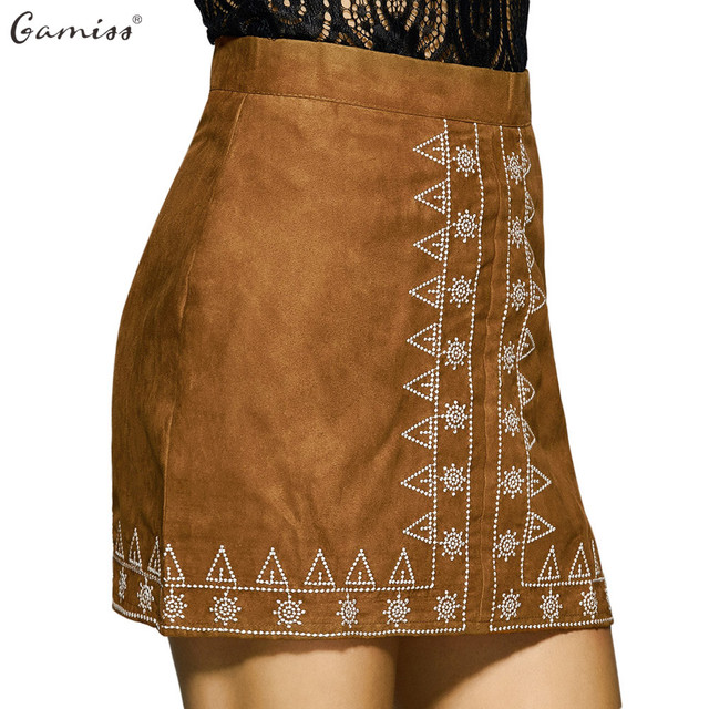 b88537fddc Gamiss Vintage Embroidery Leather Suede pencil skirt floral retro High  waist women skirs Sexy Zipper Sheath Mini Preppy Skirt