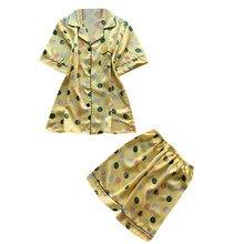 Для женщин 2 шт. летние пижамы короткий рукав шорты для свободная Пижама домашний комплект летнее шифоновое платье 40mi03