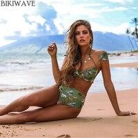 2017 New Hot Sexy Women Print Swimsuit Brazilian High Waist Push Up Bikini Swimwear Print Bandeau