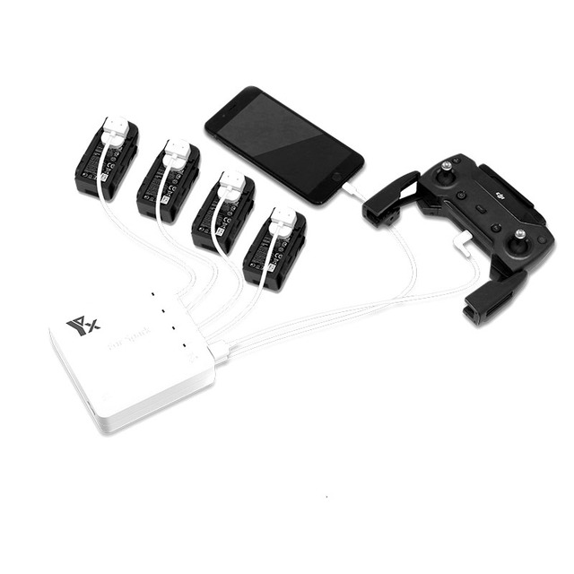 6 in 1 Battery Charger 4 Port Battery & 2 USB Port Remote Control phone tablet Charge Charging For DJI Spark Drone Accessories