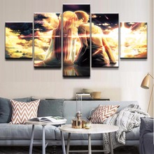 Decorative Poster Wall Art Framework Photo 5 Panel Anime Sword Online Canvas Painting Modular Pictures For Childrens Room