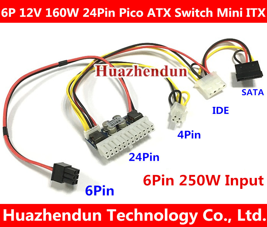 NOUVEAU PCI-E 6pin Entrée DC-ATX-250W 24pin Alimentation Module Swithc Pico PSU Car Auto Mini ITX Haute dc-atx module ITX Z1