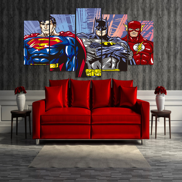 HD Printed Cartoon Superman Batman Flash Justice League