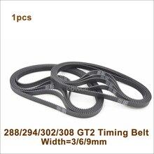 POWGE 288/294/300/302/308 2GT Timing Belt W=6/9mm T=144/147/150/151/154 GT2 Closed-Loop Synchronous Belt 288-2GT 294-GT2