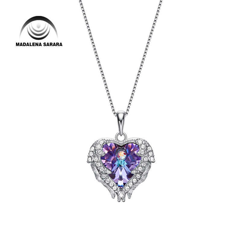 MADALENA SARARA AAA Synthetic Quartz Stone Fashion Romantic Heart Style Pendant Necklace S925 Chain Necklace