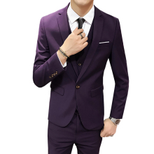 (Jacket+vest+pants) 2018 High end Groom Wedding Dress Fashion Mens Suits Boutique Pure Color Casual Business Suits Blazer