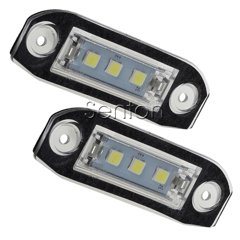 1Pair Car LED number License Plate Light 12V White SMD LED lamp Car Styling For Volvo XC90 S80 V70 S60 XC60 S40 V50 accessories 2pcs car led license plate lights 12v white smd3528 led number plate lamp bulb kit for ford focus c max 03 07