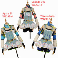 Love Live! Umi Eli Nico Cos Awakening Crayon/Painter Cosplay Costume Custom Made Ball Gown Girl Sexy Mini Dress