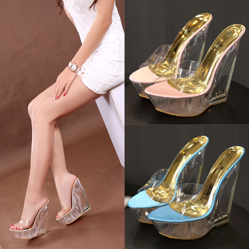 91b7e7fe89c US $31.51 57% OFF|Platform Sandals 14cm High Heel Peep Toe Summer Women  Transparent Shoese Slip On Wedge Clear Heels Sexy Lady Platform Sandals-in  ...