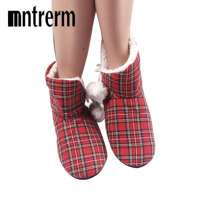 Mntrerm Winter Women Slippers Shoes Girl Households Indoor Plush Floor Slippers Chirsitmas Mix-colored Denim Cotton Slippers soft plush big feet pattern winter slippers