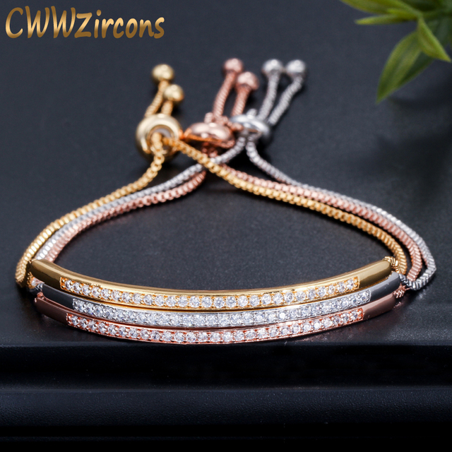 CWWZircons מתכוונן צמיד צמיד לנשים Captivate בר מחוון מבריק CZ רוז זהב צבע תכשיטי Pulseira Feminia CB089