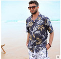 New Arrival Mens Beach Shirts Cotton Short Sleeved Plus Size Man Casual Holiday Hawaiian Shirt Male Summer Clothing J07