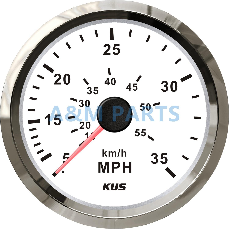KUS Boat Speedometer Gauge Marine Speed Meter White Face 12V 24V 0 35MPH 85mm