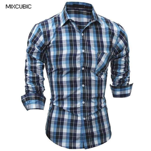 136c574a8ee MIXCUBIC 2017 spring England style classic small plaid shirts men casual  slim long checked printed shirts for men size M-2XL