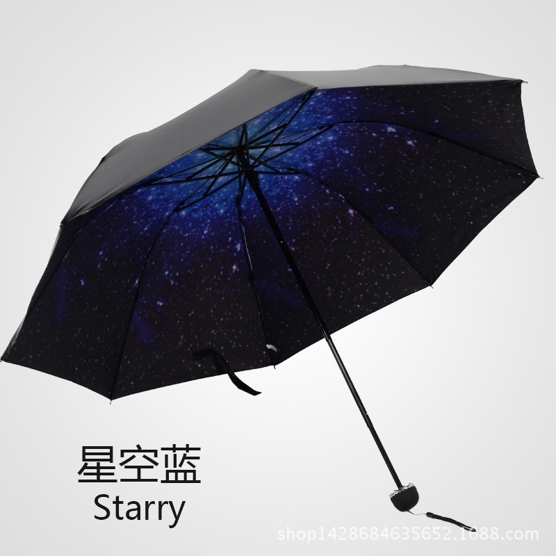 starry sky anti uv sun shading sunscreen vinyl folding sun umbrella black fashion new parasol. Black Bedroom Furniture Sets. Home Design Ideas