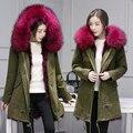 Длинные Зимняя Куртка Женщин 2016 Большой Мех Енота С Капюшоном Пальто Парки И Пиджаки Съемный Lining Модный Бренд