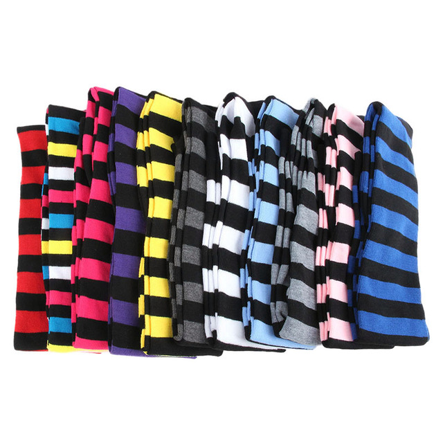 Women Girls Over The Knee Socks Thigh High Long Striped Stocking 11 Colors