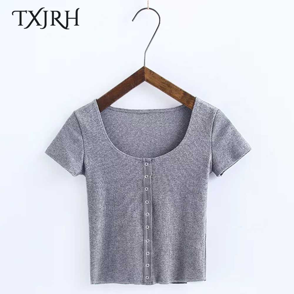 TXJRH Mode Fil O-cou Single-breasted Manches Courtes T-Shirt Sexy Femmes Court Cultures Mince Tee Casual Tops Nouveau 6 bonbons Couleurs