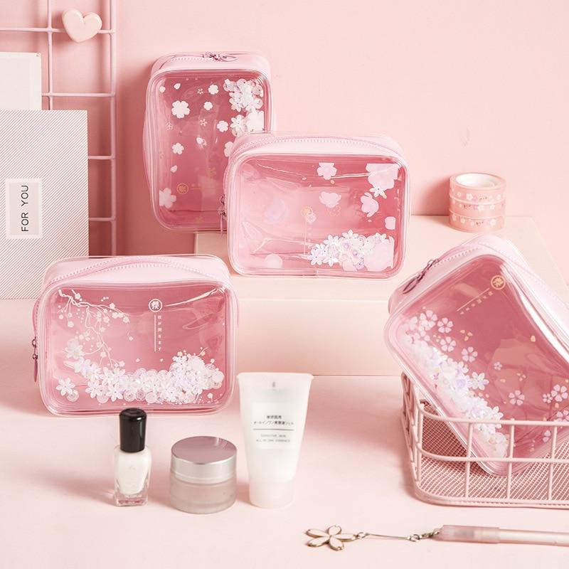 Pink Cherry Cosmetic Bag Transparent PVC Women Travel Wash Waterproof Storage Bag Organizer Makeup Case Beauty Toiletry Kit Wash