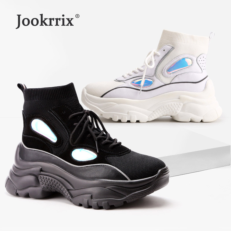 Jookrrix Casual White Sock Shoes Women Fashion Brand Platform Sneaker High Top Lady chaussure Laser Female footware Black Soft