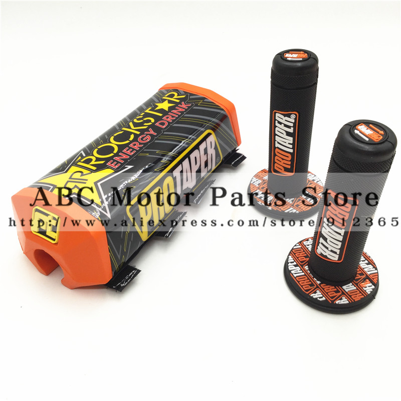 Orange Dirt Pit bike PROTECTOR MOTOCROSS BAR PROTAPER Handlebar Breast Pad & handle grips PRO grip Rockstar Handlebar Pads