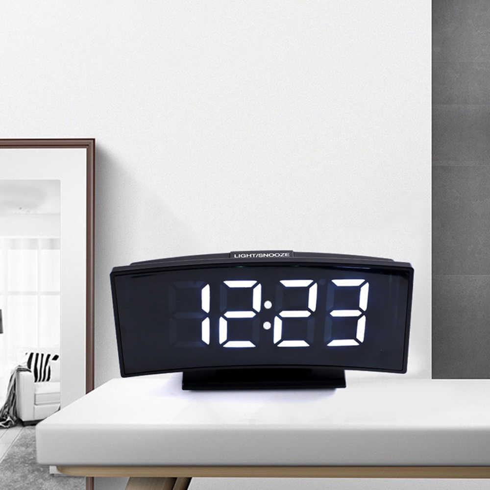 Multifunzionale 3 In 1 Orologio Digitale Termometro Calendario Grande Schermo LED Elettronico Orologio Da Tavolo Specchio Muto Allarme Orologio