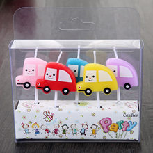 5pcs Colorful Cute Police Car whirlybird Prince theme kids girls boys Happy Birthday Party Candle cake decoration supplies(China)