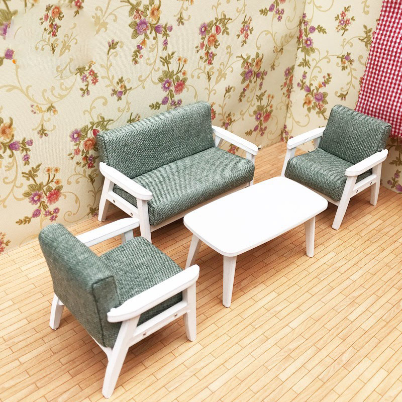 1 12 Wooden dollhouse Furniture Toys for dolls doll house Miniature Furniture sofa children Pretend Play