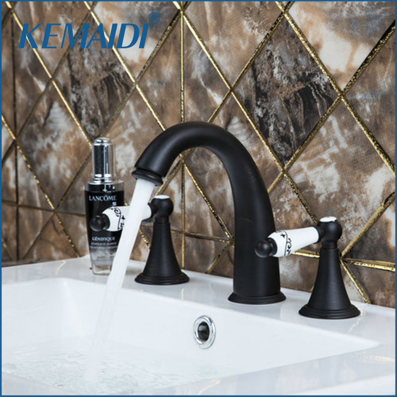 KEMAIDI Deck Mounted Bathtub Torneira Oil Rubbed Bronze 3 Pieces Double Handles 97115 Bathroom Basin Sink Brass Faucet,Mixer TapKEMAIDI Deck Mounted Bathtub Torneira Oil Rubbed Bronze 3 Pieces Double Handles 97115 Bathroom Basin Sink Brass Faucet,Mixer Tap