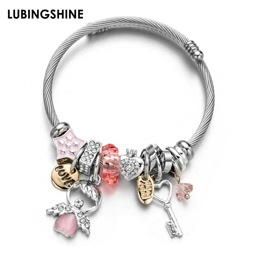 Fashion Crystal Heart Charms Stainless Steel Bracelets Bangles Silver Color Star Key Pendant Bracelet Jewelry for Women