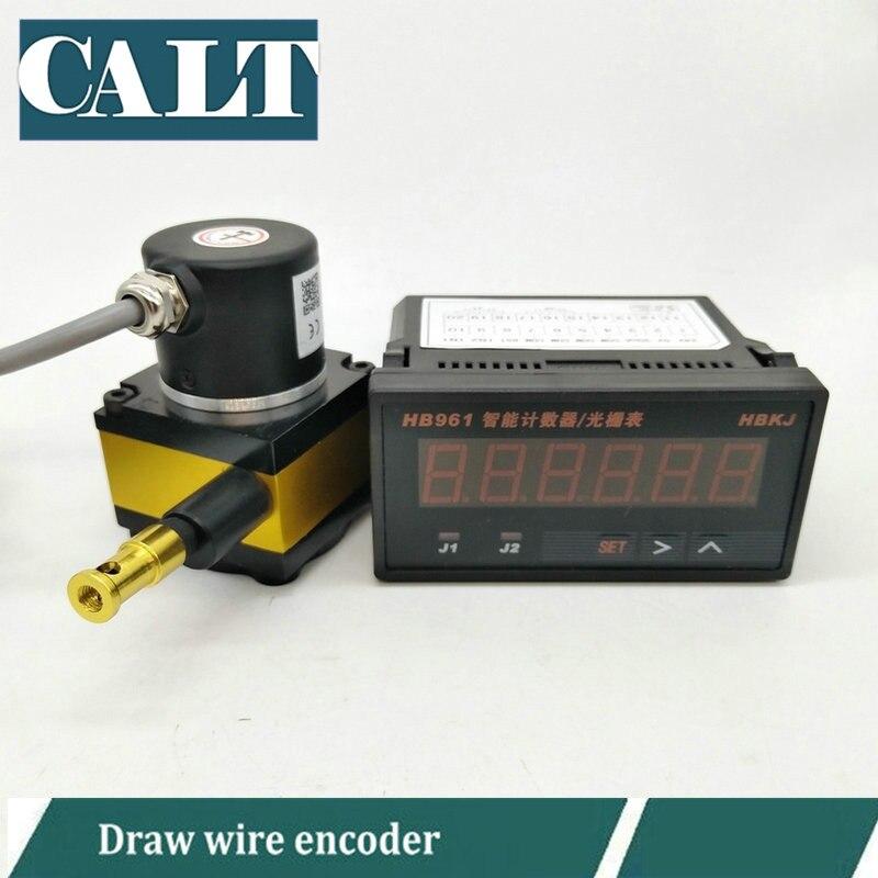 Transducteur de mouvement de câble de mesure de distance d'encodeur de fil de tirage linéaire de 1000mm avec 6 tables d'affichage de compteur numérique HB961