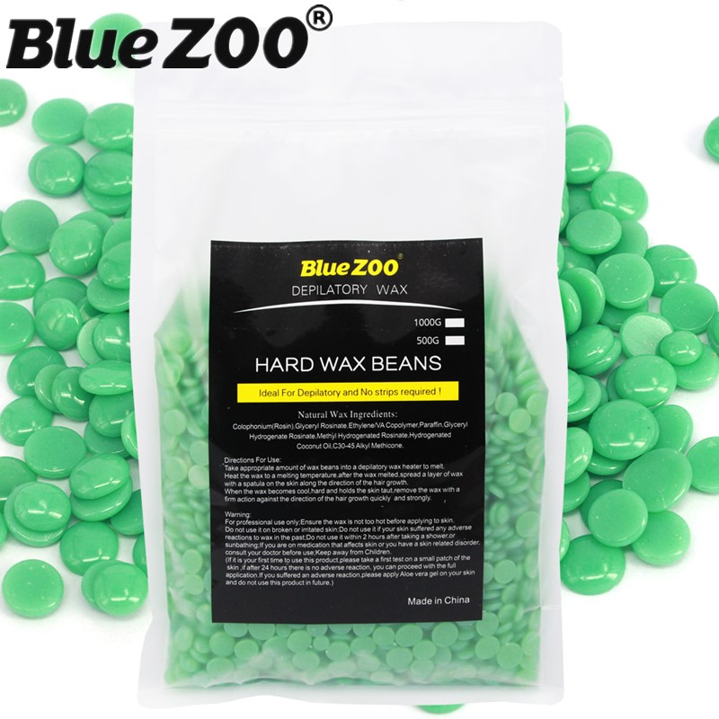 1000g/bag No Wax Strips Hot Film Hard Wax Beads Green Pearl Bean Waxing Pellet Painless Depilation Beauty Hair Removal Cream hot sale beads